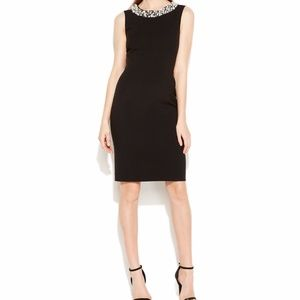 NEW CALVIN KLEIN Pearl Necklace Black Dress 8P NWT